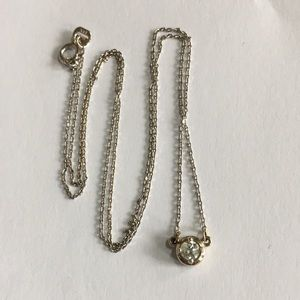 Jewelry - 14K White Yellow Gold Diamond Solitaire Necklace